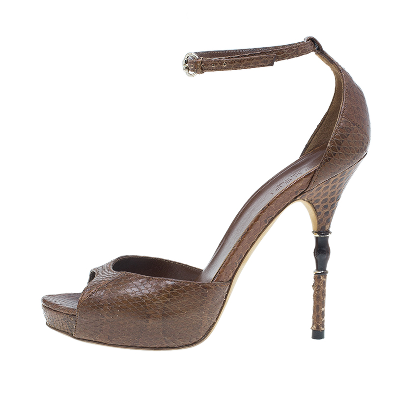 Gucci Brown Python Roma Bamboo Detail Ankle Strap Sandals Size 36
