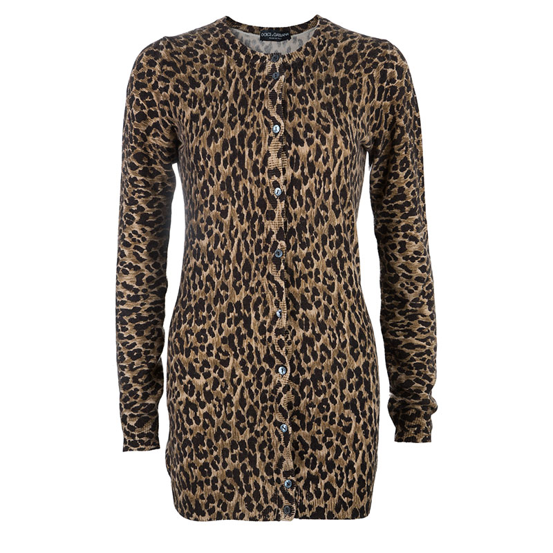 Dolce and Gabbana Brown Leopard Print Cardigan S