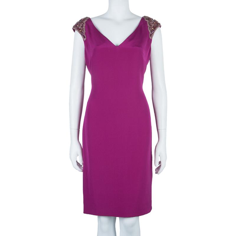 Notte By Marchesa Purple Shoulder Embellished Dress M