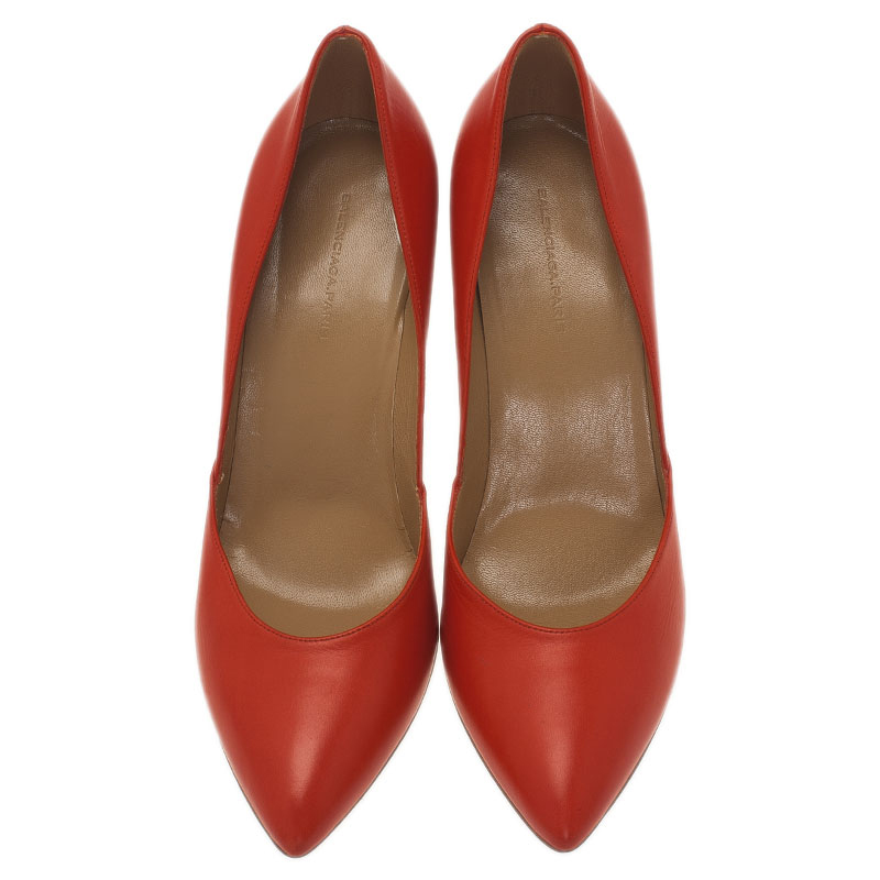 Balenciaga Red Leather Pointed Toe Pumps Size 39