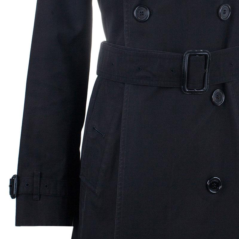 Burberry Black Kensington Long Heritage Trench Coat S