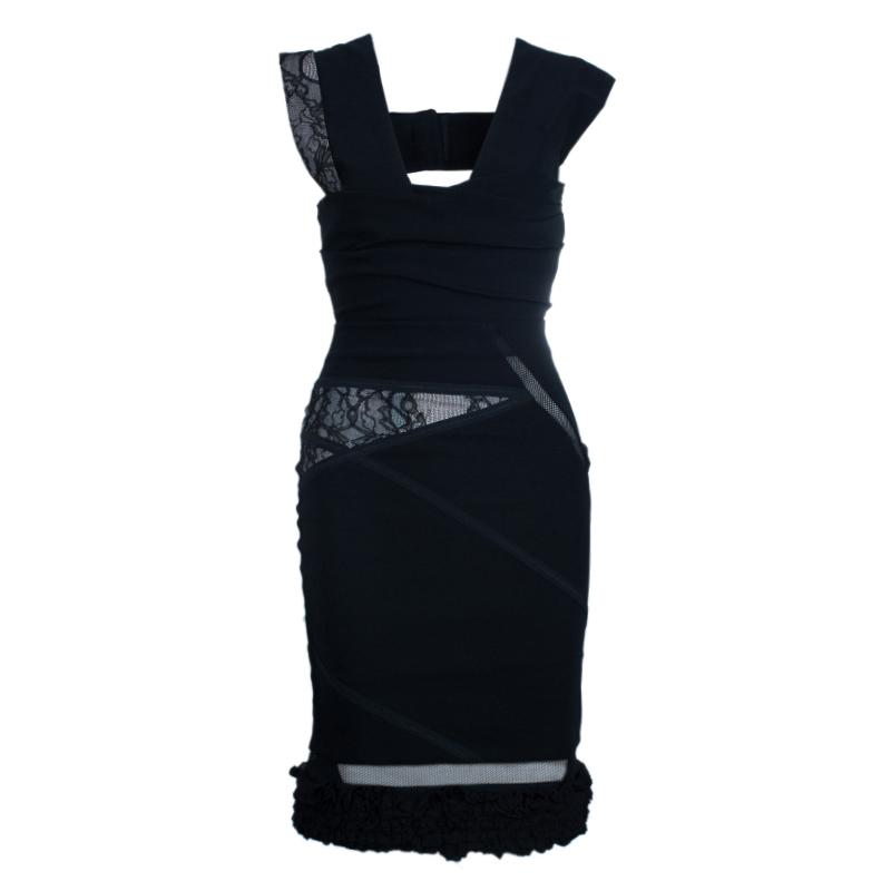 Preen By Thornton Bregazzi Black Lace Bandage Dress M