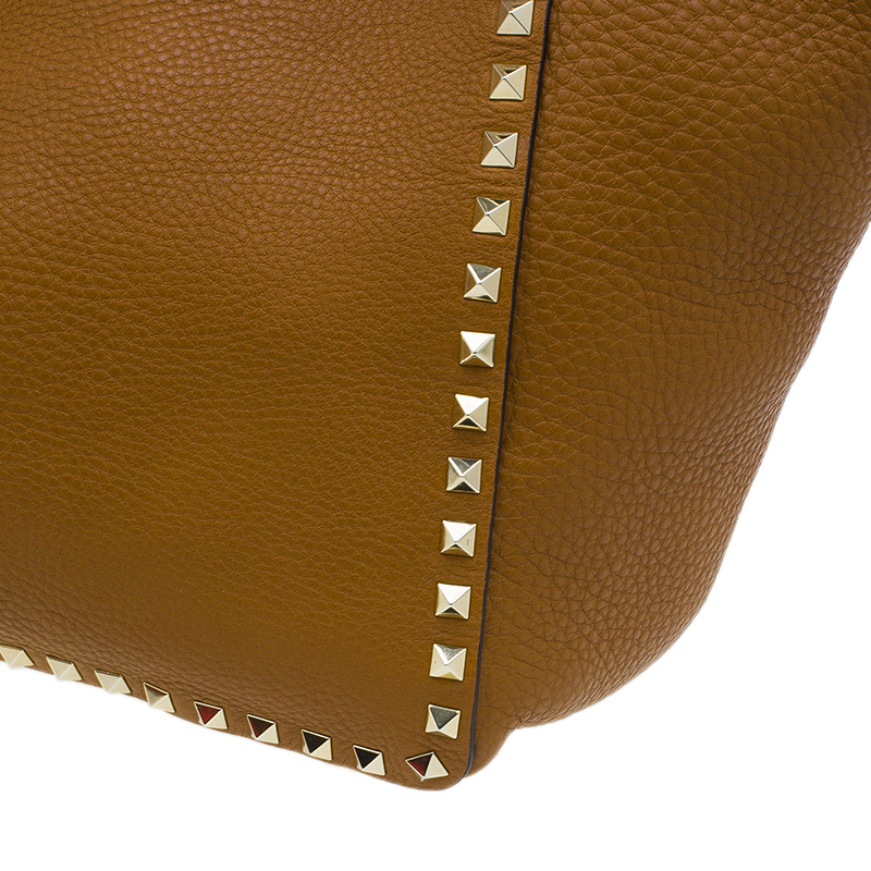 Valentino Brown Pebbled Leather Medium Rockstud Trapeze Tote Bag
