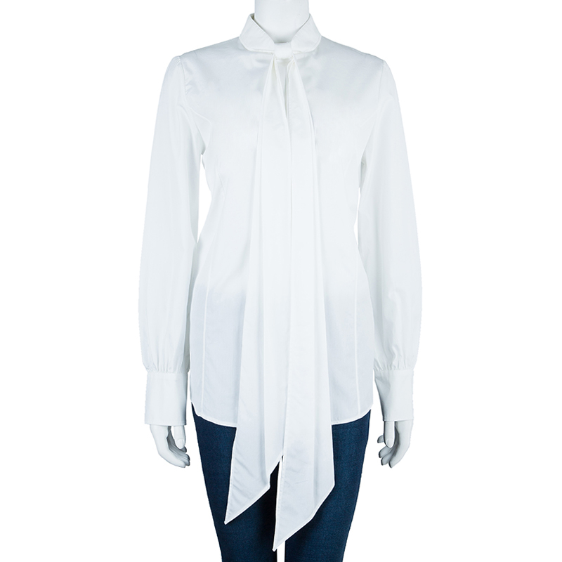 Saint Laurent Paris White Cotton Long Sleeve Shirt M