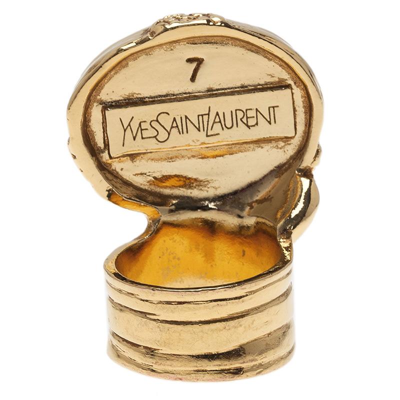 Saint Laurent Paris Arty Pink Gold Tone Ring Size 54.5