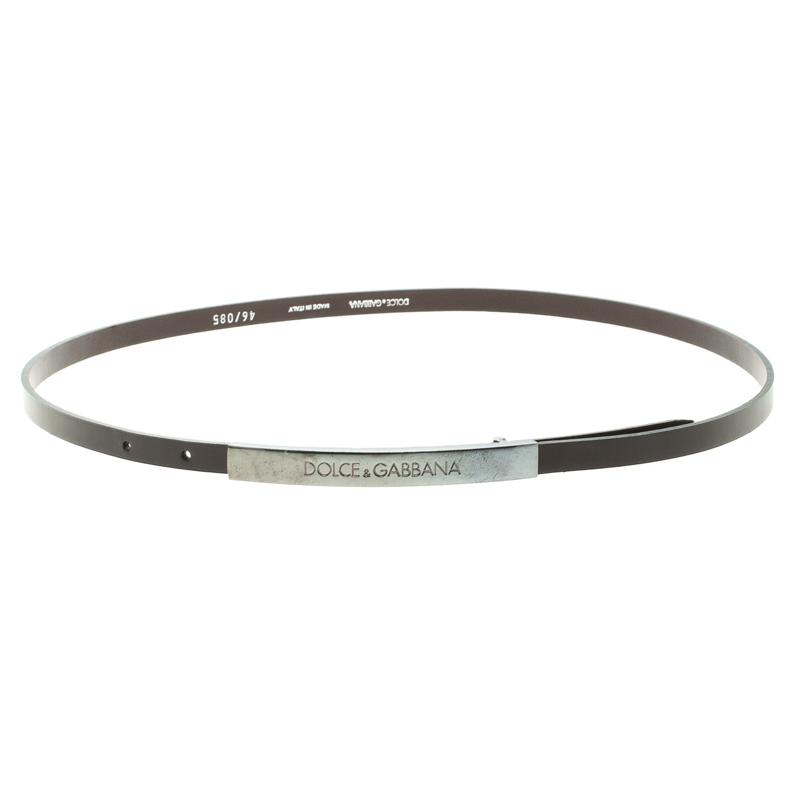 Купить со скидкой Dolce and Gabbana Dark Brown Leather Skinny Buckle Belt 85cm