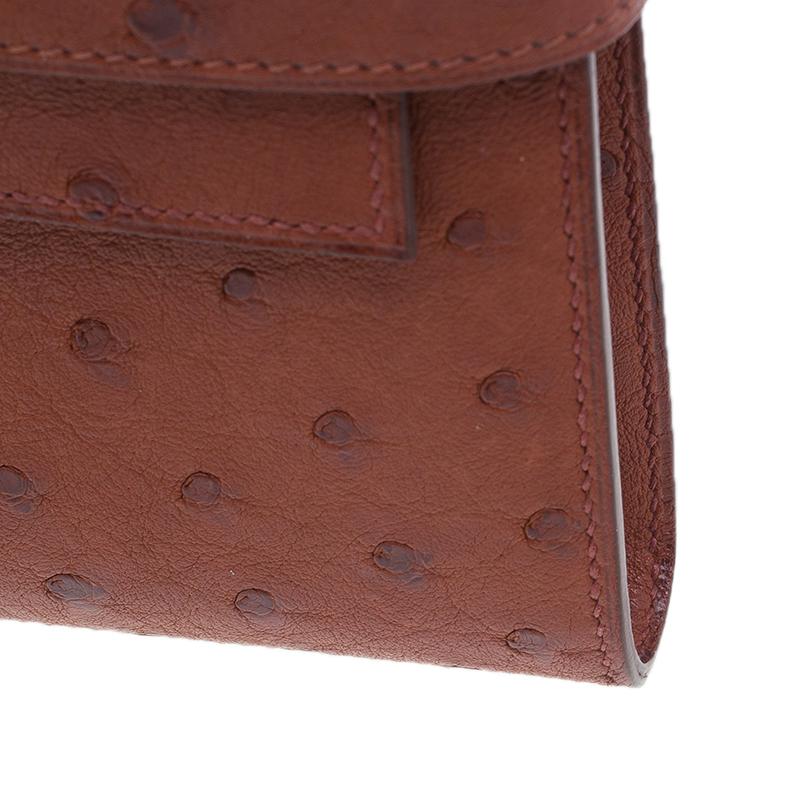 Hermes Orange Ostrich Leather Kelly Long Wallet