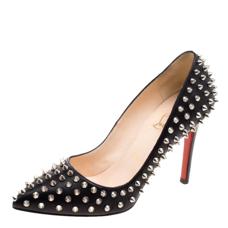38fc4b21d53c ... uk christian louboutin black leather pigalle spikes pumps size 37.  nextprev. prevnext 8e0f1 b65f6