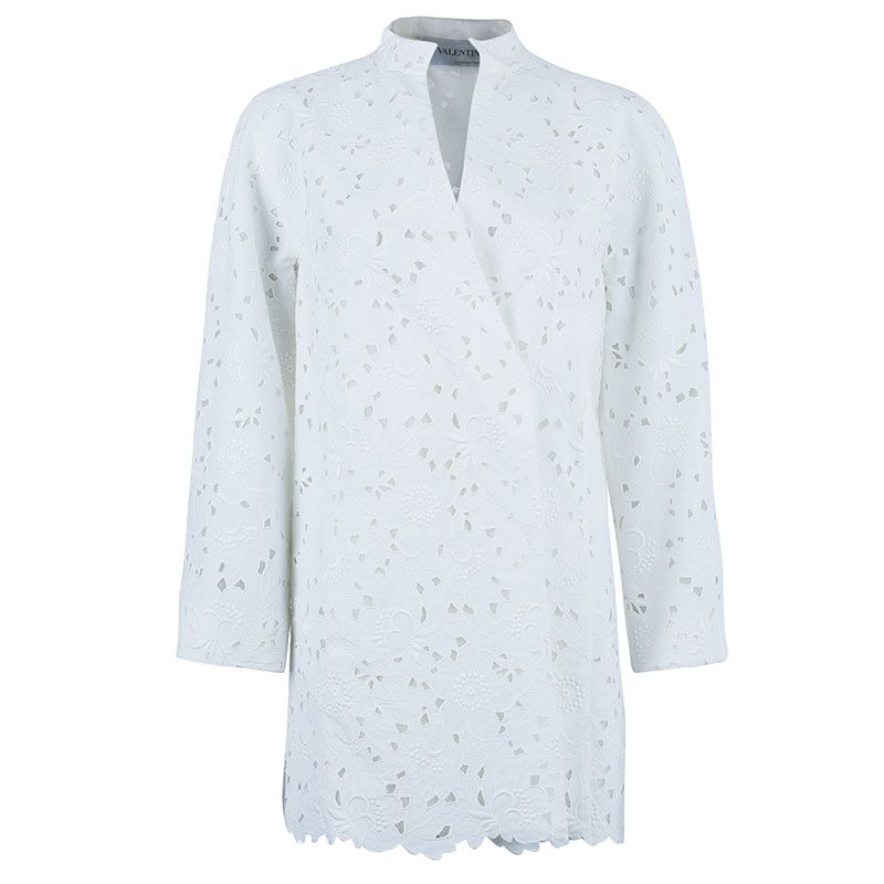 Valentino White Floral Lace Jacket S