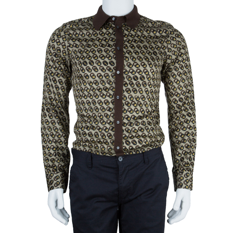 Dolce and Gabbana Men's Gold Fit Printed Shirt S