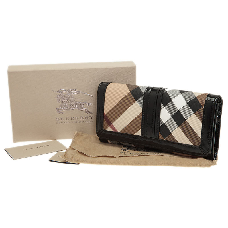 Burberry Black Novacheck Canvas and Patent Leather Penrose Continental Wallet