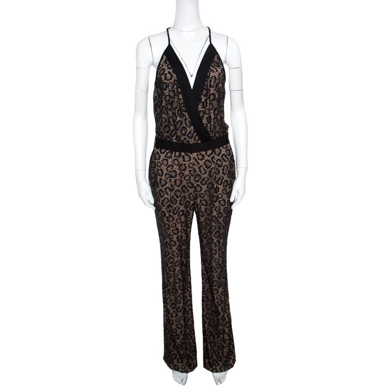 Купить со скидкой Diane Von Furstenberg Black Embellished Lace Zadie Jumpsuit S