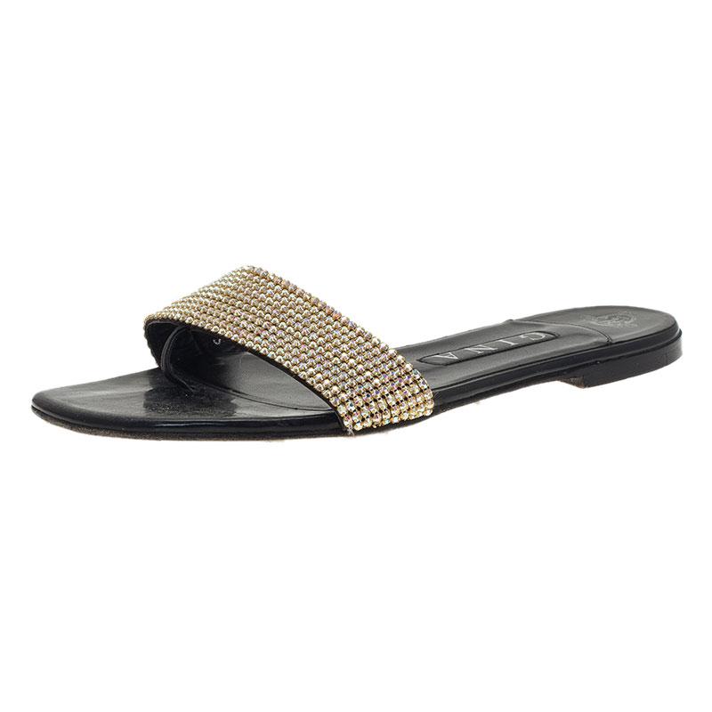 Gina Gold Crystal Flat Slides Size 38