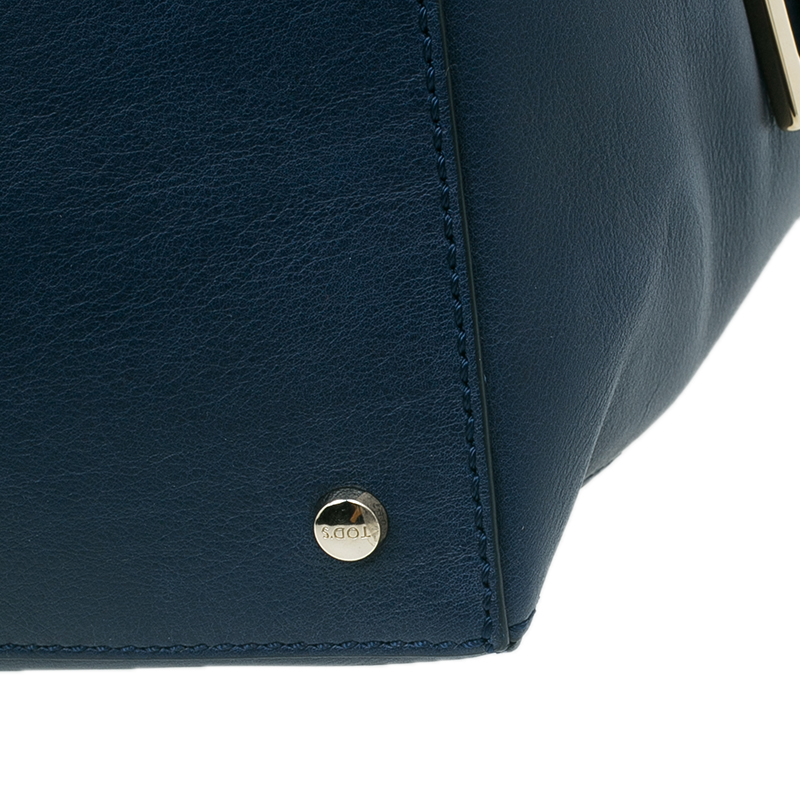 Tod's Dark Blue Leather Small CC Zip Tote Bag