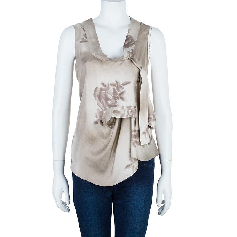 Marni Taupe Floral Print Sleeveless Silk Top M