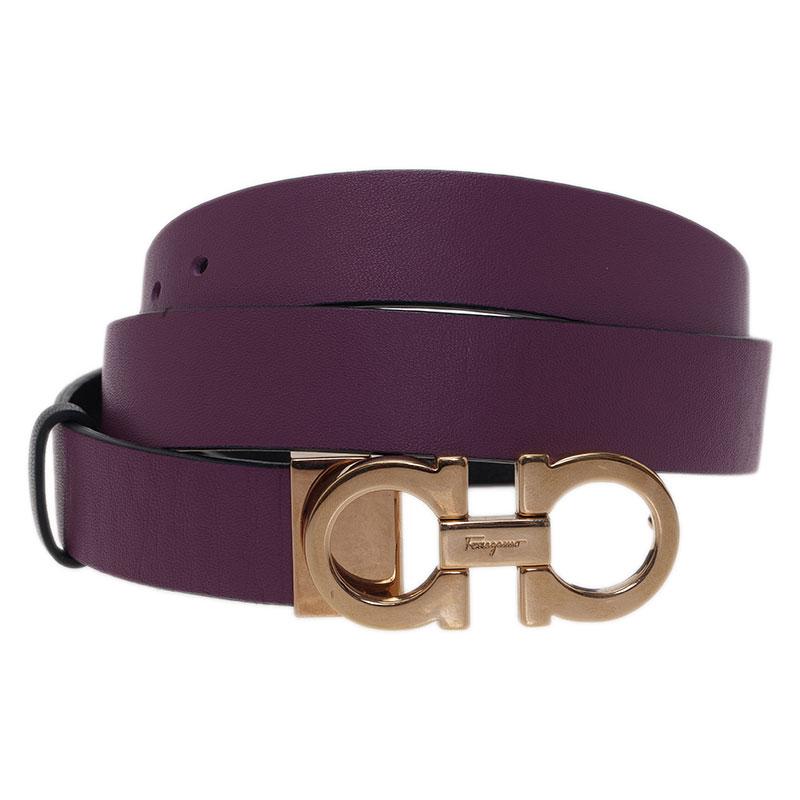 Salvatore Ferragamo Purple Leather Reversible Gancini Buckle Belt 75CM