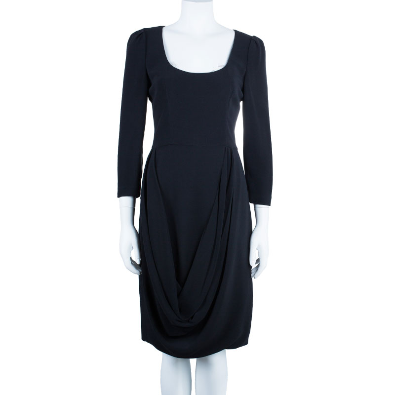 Prada Long Sleeve Drape Front Dress M