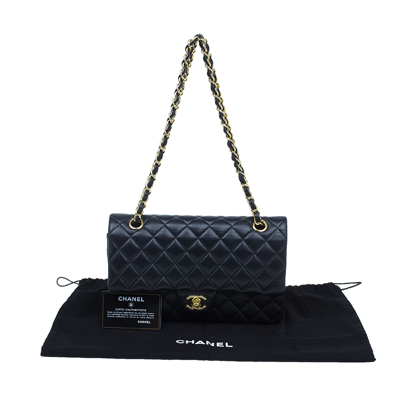 Chanel Black Quilted Lambskin Medium Double Flap Bag