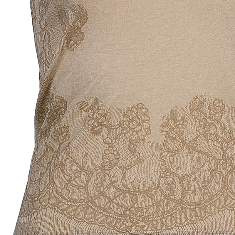 Valentino Beige Lace Print Cotton Top XS