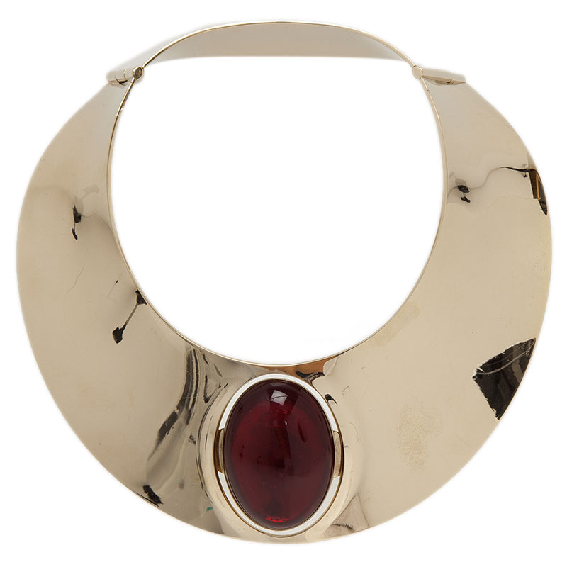 Dior Red Stone Gold Tone Collar Necklace