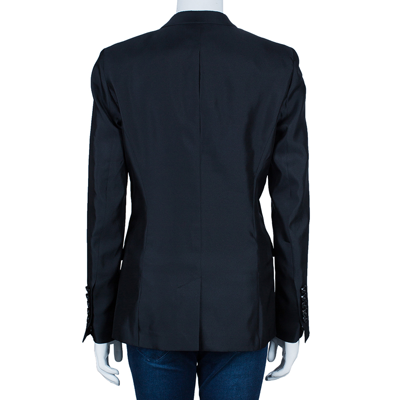 Burberry Black Silk Tailored Blazer M