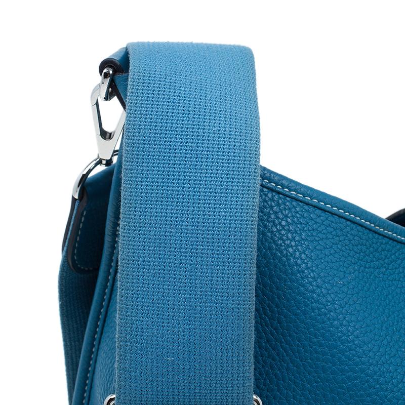 Hermes Blue Clemence Leather Evelyne III GM
