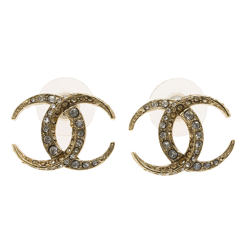 Chanel CC Moon Crystal Stud Earrings