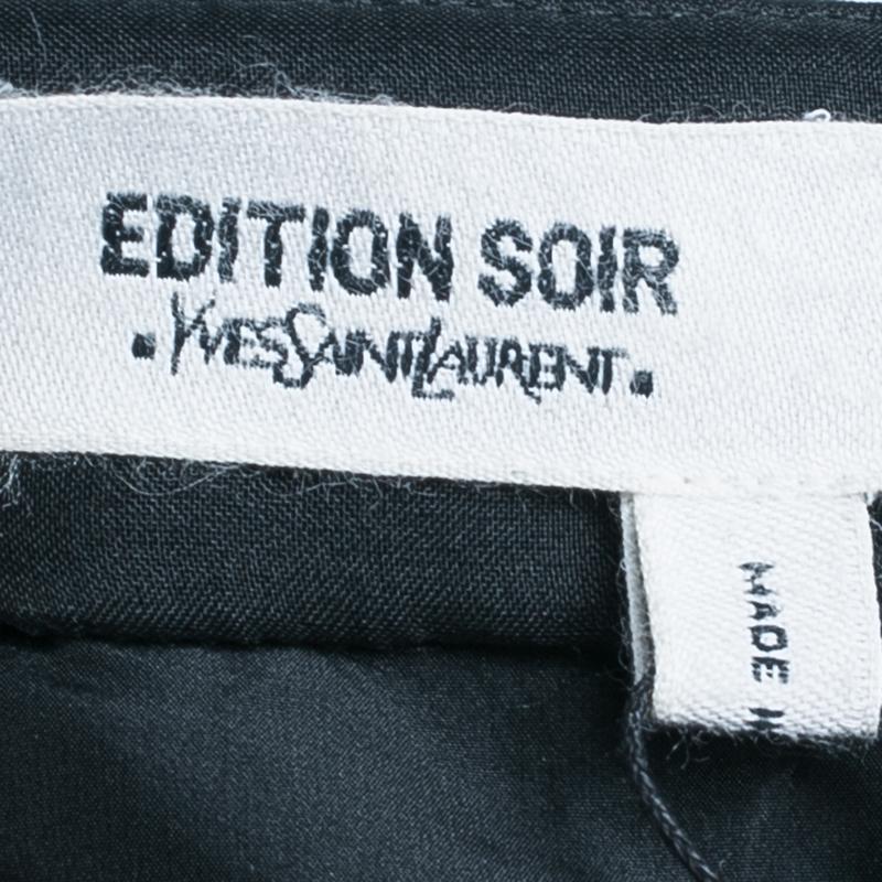 Saint Laurent Paris Black Beaded Crop Top M
