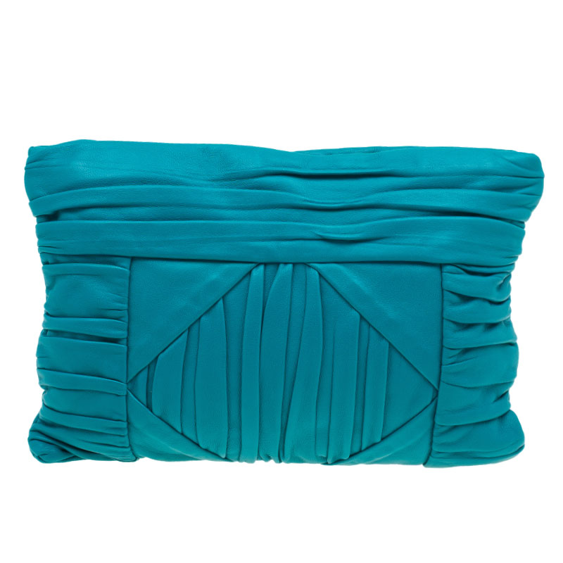 Prada Turquoise Leather Pleated Clutch