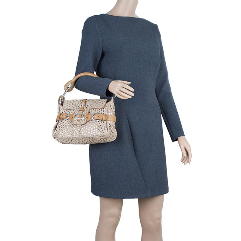 Jimmy Choo Beige Perforated Suede Tulita Satchel Bag