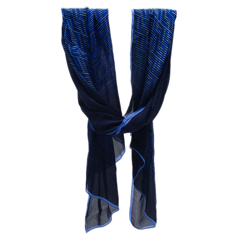 Fendi Blue Zucca Striped Silk Scarf