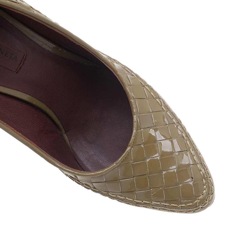 Bottega Veneta Tan Intrecciato Leather Pumps Size 35.5