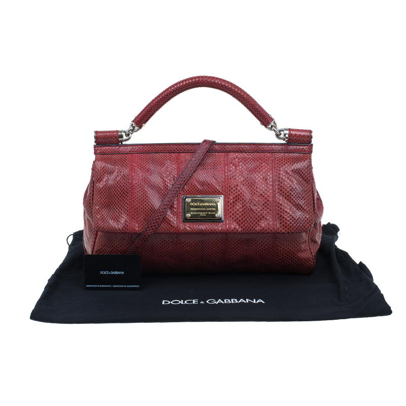 Dolce and Gabbana Red Snake Skin Medium Miss Sicily Tote Bag
