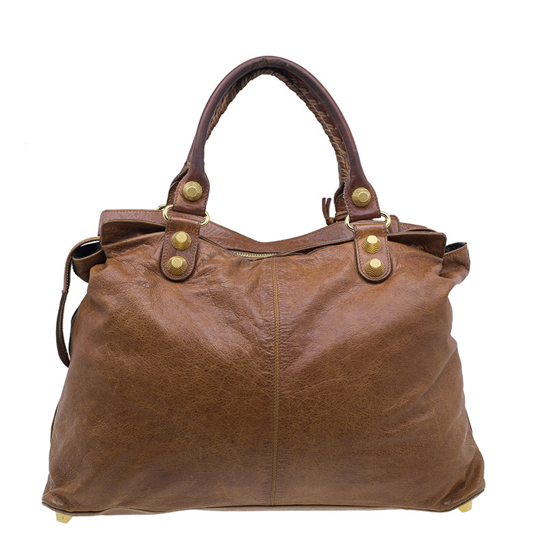 Balenciaga Brown Lambskin Giant Step Tote Bag