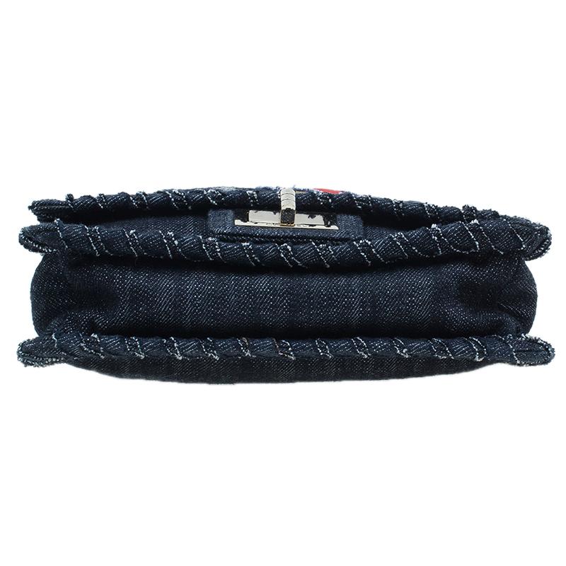 Chanel Black Denim Night Flight Mademoiselle Flap bag