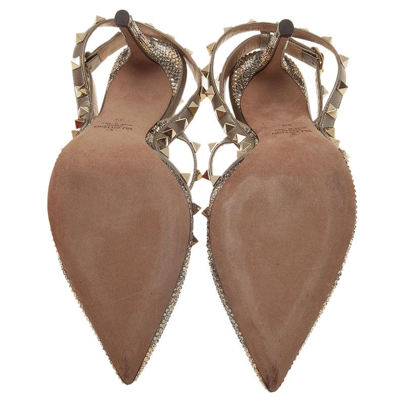Valentino Grey Camo Crystal Coated Rockstud Sandals Size 39