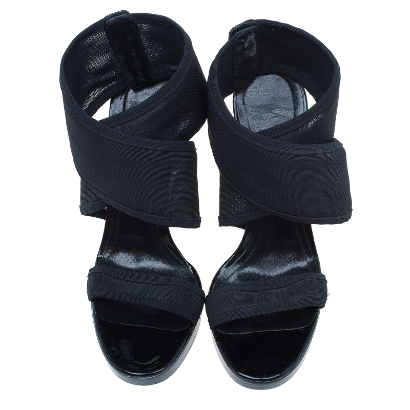 Burberry Black Leather Criss Cross Sandals Size 37