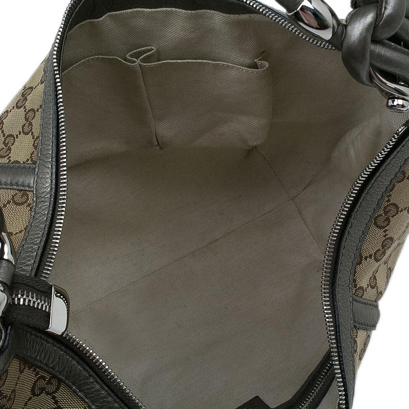 Gucci Beige/Grey GG Canvas Medium Techno Horsebit Hobo Bag