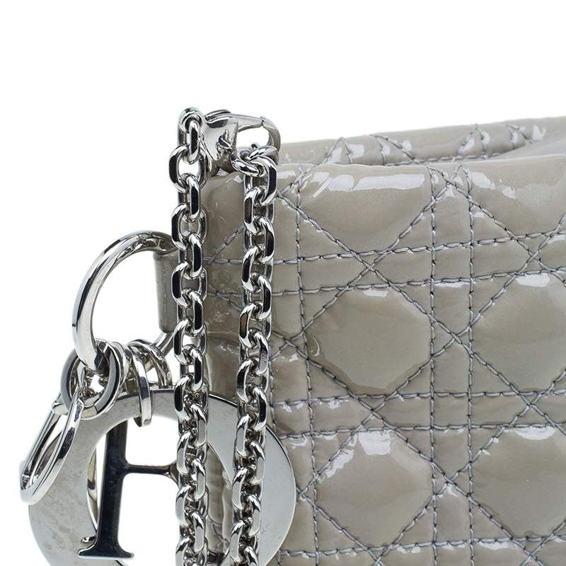 Dior Beige Cannage Quilted Patent Leather Large Clutch Bag