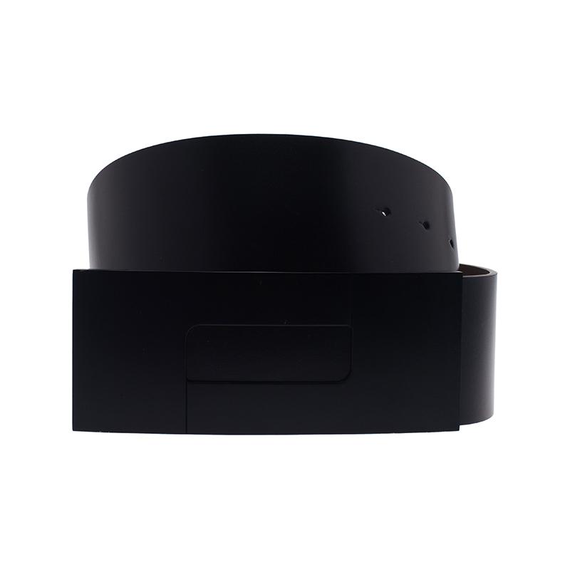 Porsche Design Black Leather Black Logo Waist Belt 80CM