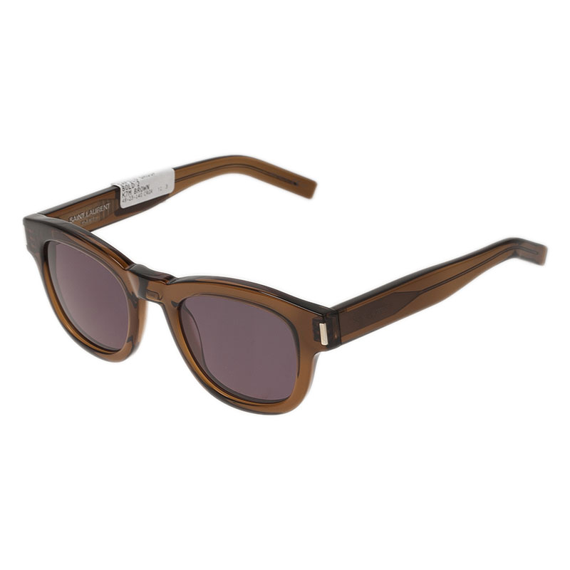 Saint Laurent Paris Brown Bold K7M Round Sunglasses