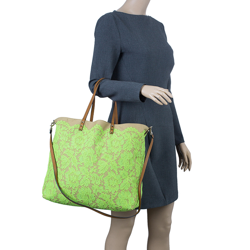 Valentino Lime Green Glamorous Lace Tote Bag