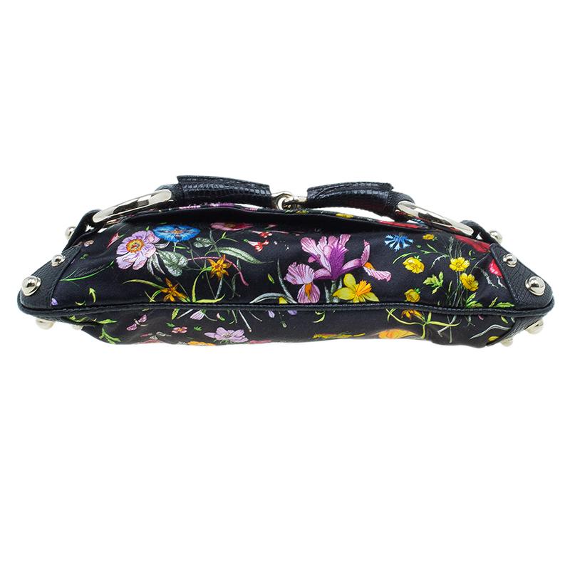 Gucci Black Satin Floral Print with Python Trim Horsebit Web Clutch