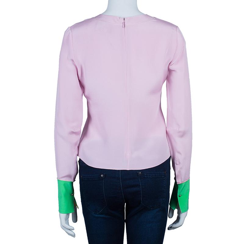 Roksanda Ilincic Pink Contrast Cuff Long Sleeve Silk Top M
