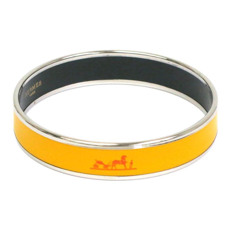 Hermes Caleche Wide Yellow Enamel Palladium Plated Bracelet