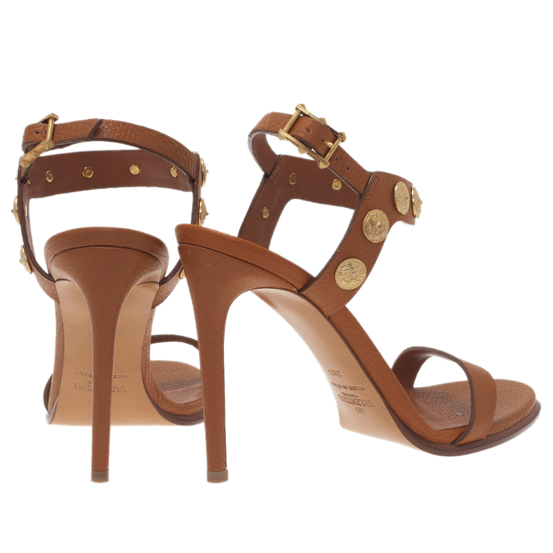 Valentino Brown Gryphon Coin Studded Leather Ankle Strap Sandals Size 38.5