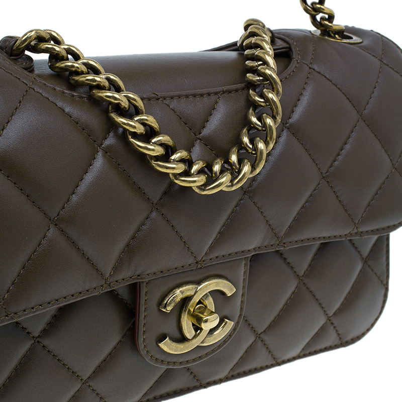 Chanel Brown Quilted Calfskin Leather Small Perfect Edge Flap Bag