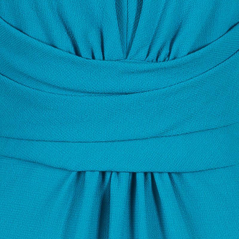 Carolina Herrera Turquoise Short Sleeve Dress S
