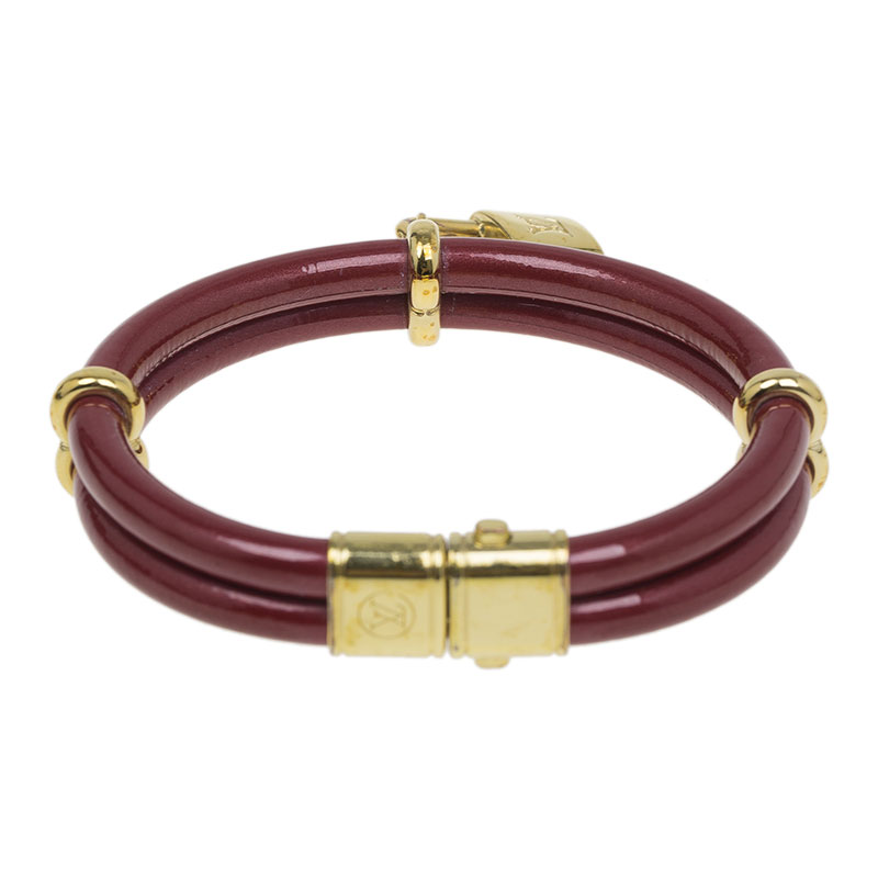Louis Vuitton Keep It Twice Double Red Padlock Charm Bracelet