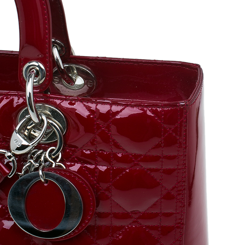 Dior Red Patent Leather Large Lady Dior Tote Bag